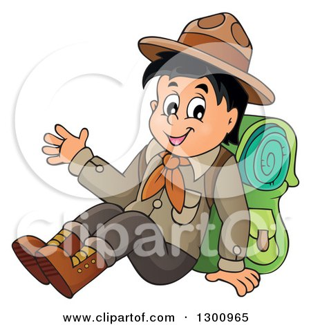 Clipart of a Cartoon Happy Scout Boy Sitting with a Backpack and Waving - Royalty Free Vector Illustration by visekart