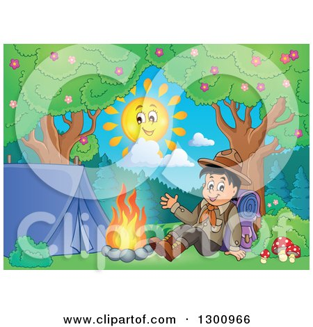 Clipart of a Cartoon Happy Scout Boy Sitting with a Backpack and Waving by a Camp Fire - Royalty Free Vector Illustration by visekart