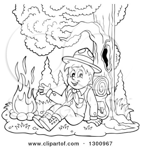 Clipart of a Cartoon Black and White Scout Boy Sitting Against a Tree and Waving by a Campfire - Royalty Free Vector Illustration by visekart