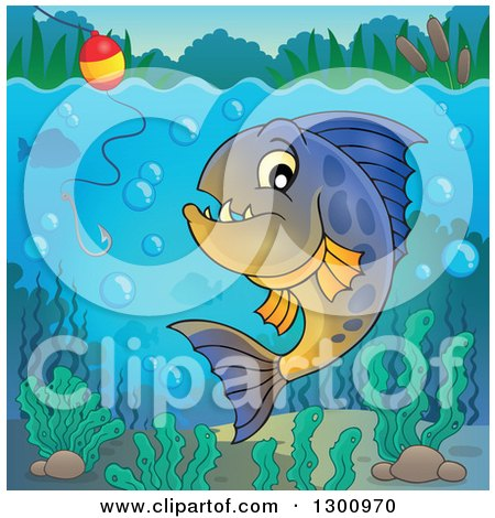 Clipart of a Carnivorous Piranha Fish Underwater, with a Fishing Hook and Visible Surface - Royalty Free Vector Illustration by visekart
