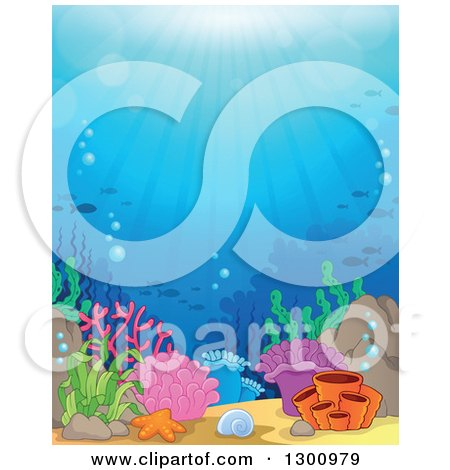 Clipart of a Background of an Ocean Reef with Sun Rays Shining down on Corals and Silhouetted Fish - Royalty Free Vector Illustration by visekart
