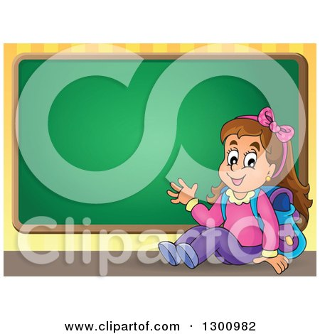 Clipart of a Cartoon Brunette White School Girl Sitting and Waving by a Chalkboard - Royalty Free Vector Illustration by visekart