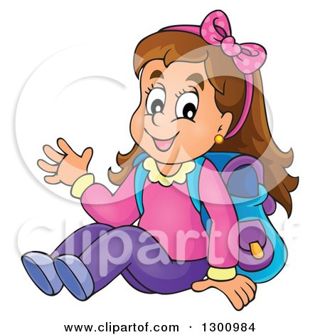 Clipart of a Cartoon Brunette White School Girl Sitting and Waving - Royalty Free Vector Illustration by visekart