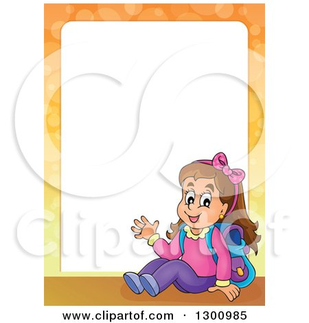 Clipart of a Frame of a Cartoon Brunette White School Girl Sitting and Waving - Royalty Free Vector Illustration by visekart