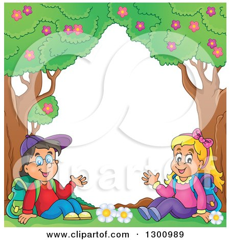 Clipart of a Cartoon White School Boy and Girl Sitting and Waving Under Trees - Royalty Free Vector Illustration by visekart