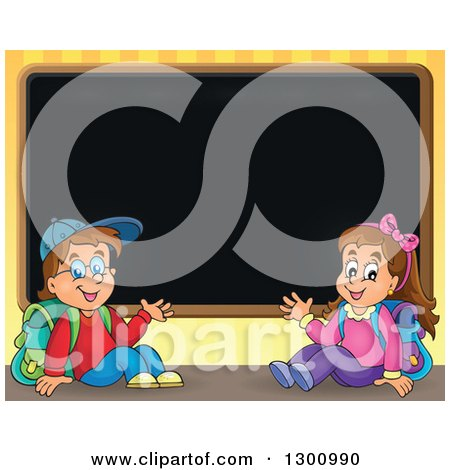 Clipart of a Cartoon White School Boy and Girl Sitting and Waving by a Black Board - Royalty Free Vector Illustration by visekart