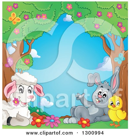 Clipart of a Cartoon Cute Spring Lamb Resting with a Chick and Rabbit Under Trees with Blossoms and Butterflies - Royalty Free Vector Illustration by visekart