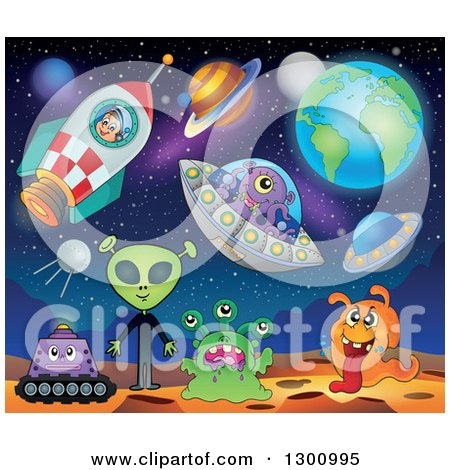 Clipart of a Cartoon White Astronaut Boy in a Rocket with Aliens, Planets, and Ufos - Royalty Free Vector Illustration by visekart
