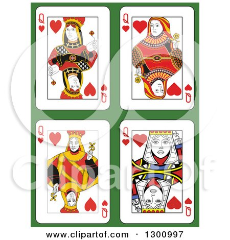 Clipart of Queen of Hearts Playing Cards over Green - Royalty Free Vector Illustration by Frisko