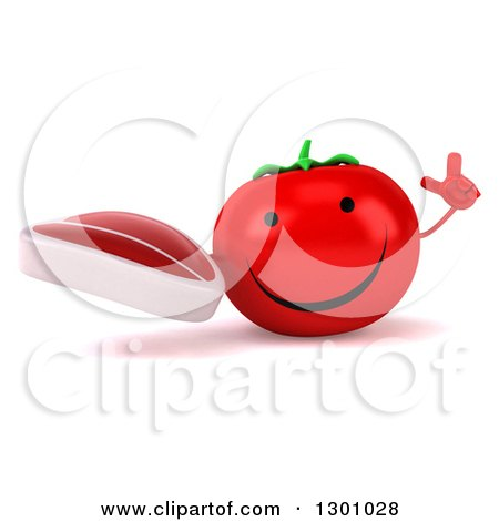 Clipart of a 3d Happy Tomato Character Holding up a Finger and a Beef Steak - Royalty Free Illustration by Julos