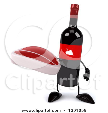 Clipart of a 3d Wine Bottle Mascot Holding a Beef Steak - Royalty Free Illustration by Julos