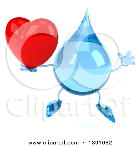 Clipart of a 3d Water Drop Character Jumping and Holding a Heart - Royalty Free Illustration by Julos
