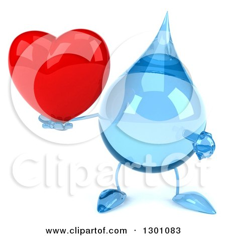 Clipart of a 3d Water Drop Character Holding and Pointing at a Heart - Royalty Free Illustration by Julos