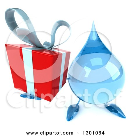 Clipart of a 3d Water Drop Character Holding up a Gift - Royalty Free Illustration by Julos