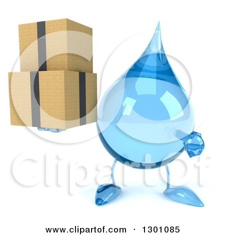 Clipart of a 3d Water Drop Character Holding and Pointing to Boxes - Royalty Free Illustration by Julos