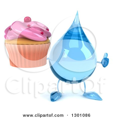 Clipart of a 3d Water Drop Character Giving a Thumb up and Holding a Pink Frosted Cupcake - Royalty Free Illustration by Julos