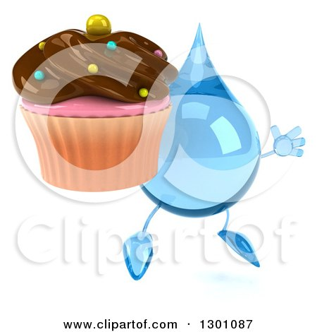 Clipart of a 3d Water Drop Character Facing Slightly Right, Jumping and Holding a Chocolate Frosted Cupcake - Royalty Free Illustration by Julos