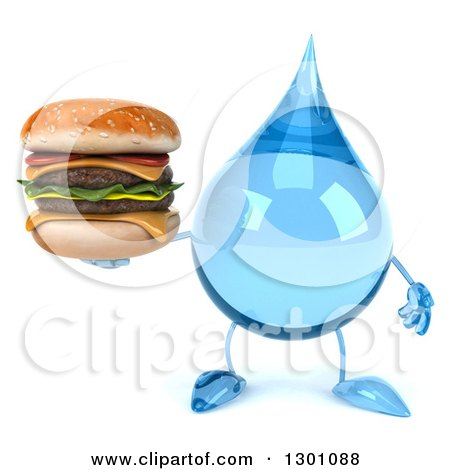 Clipart of a 3d Water Drop Character Holding a Double Cheeseburger - Royalty Free Illustration by Julos