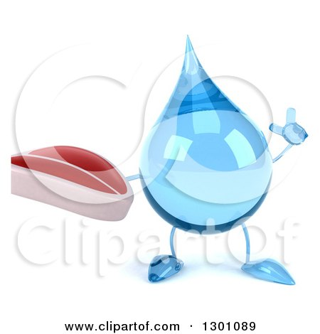 Clipart of a 3d Water Drop Character Holding up a Finger and a Beef Steak - Royalty Free Illustration by Julos