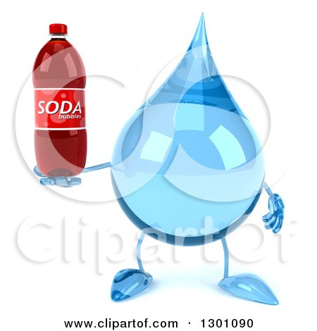 Clipart of a 3d Water Drop Character Holding a Soda Bottle - Royalty Free Illustration by Julos
