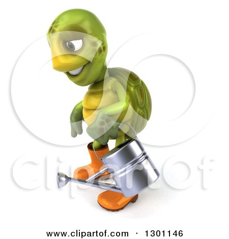 Clipart of a 3d Tortoise Turtle Gardener in Rubber Boots, Facing Left and Holding a Watering Can - Royalty Free Illustration by Julos