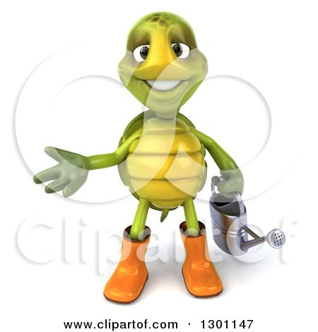 Clipart of a 3d Tortoise Turtle Gardener in Rubber Boots, Presenting and Holding a Watering Can - Royalty Free Illustration by Julos