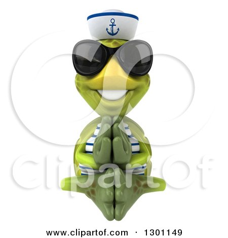 Clipart of a 3d Tortoise Turtle Sailor Meditating and Wearing Sunglasses - Royalty Free Illustration by Julos