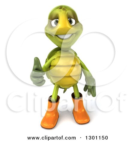 Clipart of a 3d Tortoise Turtle Gardener in Rubber Boots and Giving a Thumb up - Royalty Free Illustration by Julos