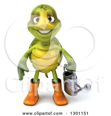 Clipart Of A 3d Tortoise Turtle Gardener In Rubber Boots Holding A Watering Can Royalty Free Illustration