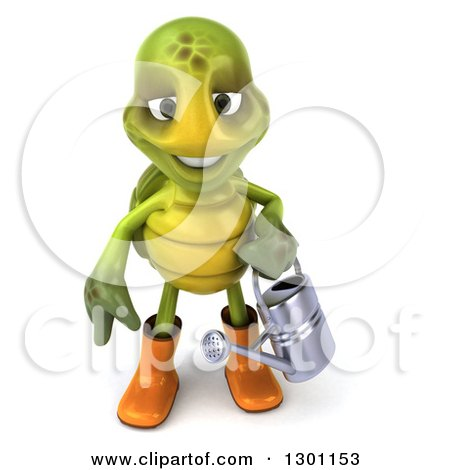 Clipart of a 3d Tortoise Turtle Gardener in Rubber Boots, Holding a Watering Can 2 - Royalty Free Illustration by Julos