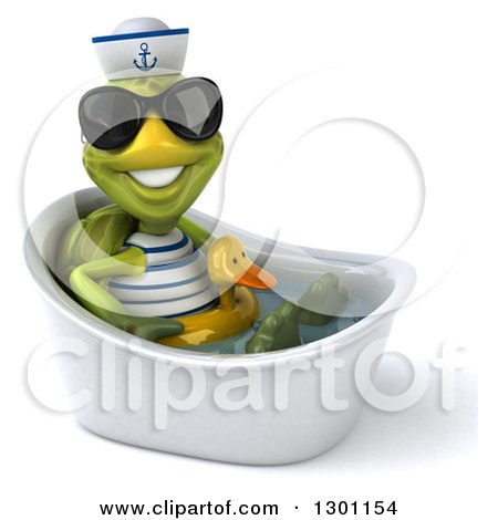 Clipart of a 3d Tortoise Turtle Sailor Wearing Sunglasses, Facing Right, Sitting and Wearing a Duck Inner Tube in a Tub 2 - Royalty Free Illustration by Julos