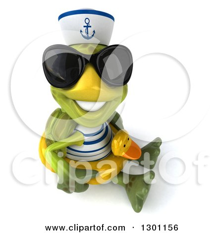 Clipart of a 3d Tortoise Turtle Sailor Wearing Sunglasses, Facing Right, Sitting and Wearing a Duck Inner Tube and Smiling Upwards - Royalty Free Illustration by Julos