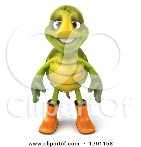 Clipart of a 3d Tortoise Turtle Gardener in Rubber Boots - Royalty Free Illustration by Julos