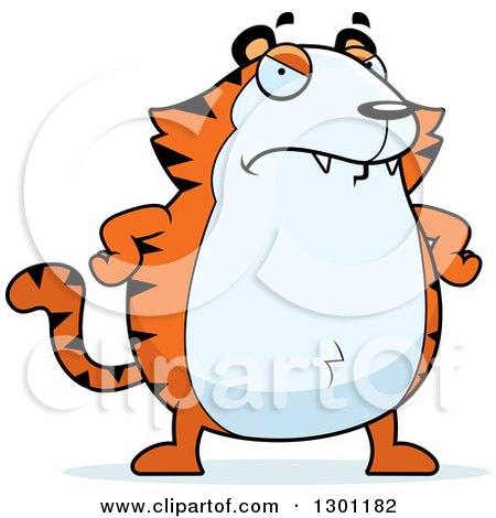 Clipart of a Cartoon Angry Mad Chubby Tiger with Hands on His Hips - Royalty Free Vector Illustration by Cory Thoman