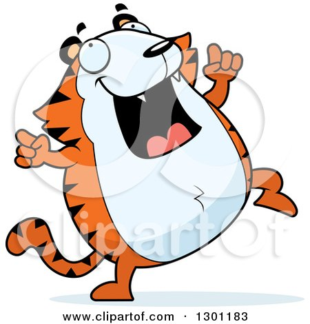 Clipart of a Cartoon Happy Chubby Tiger Dancing - Royalty Free Vector Illustration by Cory Thoman