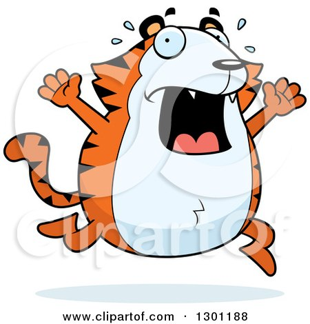 Clipart of a Cartoon Scared Screaming Chubby Tiger Running - Royalty Free Vector Illustration by Cory Thoman