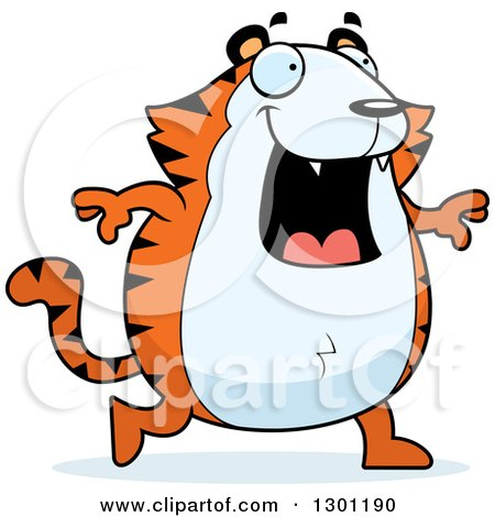 Clipart of a Cartoon Happy Chubby Tiger Walking - Royalty Free Vector Illustration by Cory Thoman