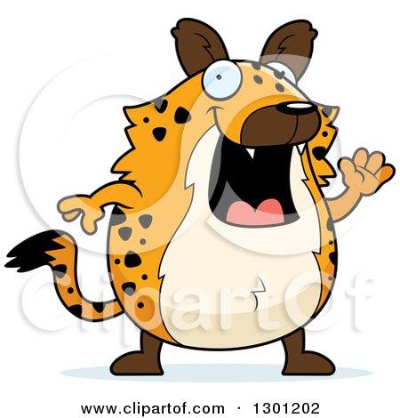 Clipart of a Cartoon Happy Friendly Chubby Hyena Waving - Royalty Free Vector Illustration by Cory Thoman
