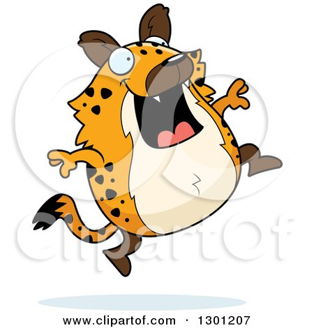 Clipart of a Cartoon Happy Chubby Hyena Jumping - Royalty Free Vector Illustration by Cory Thoman