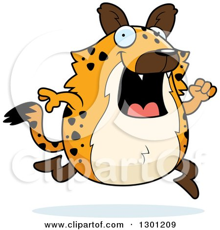 Clipart of a Cartoon Happy Chubby Hyena Running - Royalty Free Vector Illustration by Cory Thoman