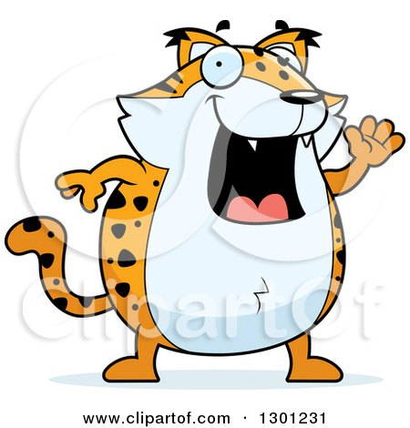 Clipart of a Cartoon Happy Friendly Chubby Bobcat Character Waving - Royalty Free Vector Illustration by Cory Thoman