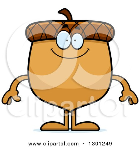 Clipart of a Cartoon Happy Acorn Character Smiling - Royalty Free Vector Illustration by Cory Thoman