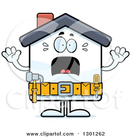 Clipart of a Cartoon Scared Screaming Home Improvement House Character - Royalty Free Vector Illustration by Cory Thoman