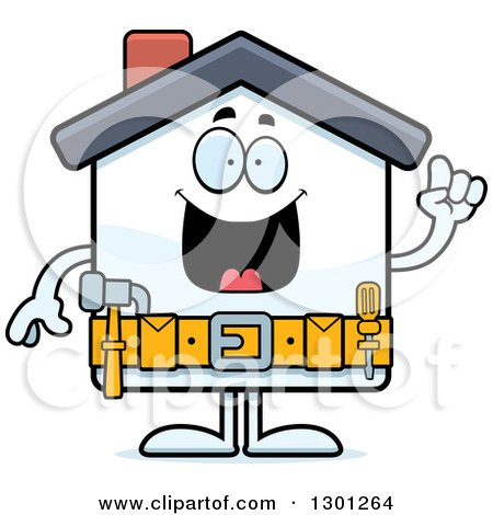 Clipart of a Cartoon Happy Home Improvement House Character ...