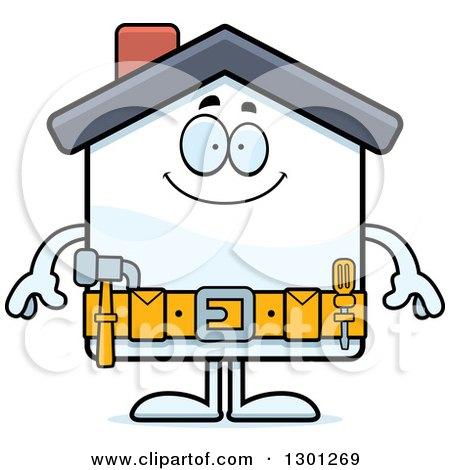 Clipart of a Cartoon Happy Home Improvement House Character Smiling - Royalty Free Vector Illustration by Cory Thoman