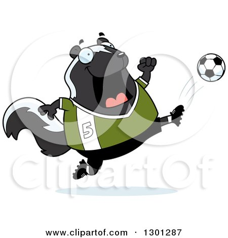 Clipart of a Cartoon Chubby Skunk Kicking a Soccer Ball - Royalty Free Vector Illustration by Cory Thoman