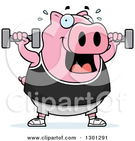 Clipart of a Cartoon Chubby Pink Pig Working out with Dumbbells - Royalty Free Vector Illustration by Cory Thoman