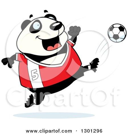 Clipart of a Cartoon Chubby Panda Kicking a Soccer Ball - Royalty Free Vector Illustration by Cory Thoman