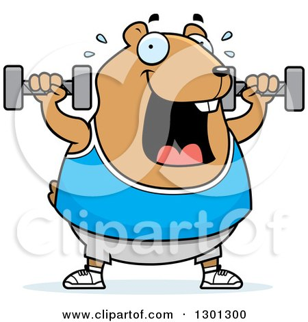 Clipart of a Cartoon Chubby Hamster Working out with Dumbbells - Royalty Free Vector Illustration by Cory Thoman