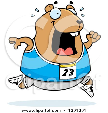 Clipart of a Cartoon Sweaty Chubby Hamster Running a Track and Field Race - Royalty Free Vector Illustration by Cory Thoman